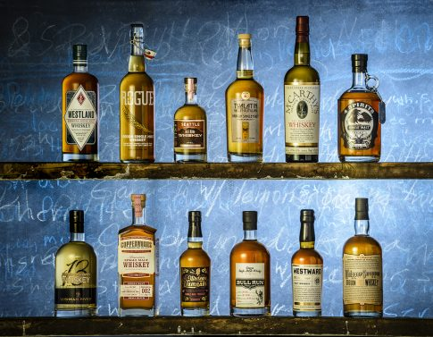 A photo of 12 american malt whiskies